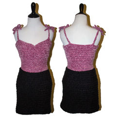 Crocheted pink tank and black skirt