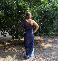 Navy one-sleeve mesh cinch layer over strapless glitter layer