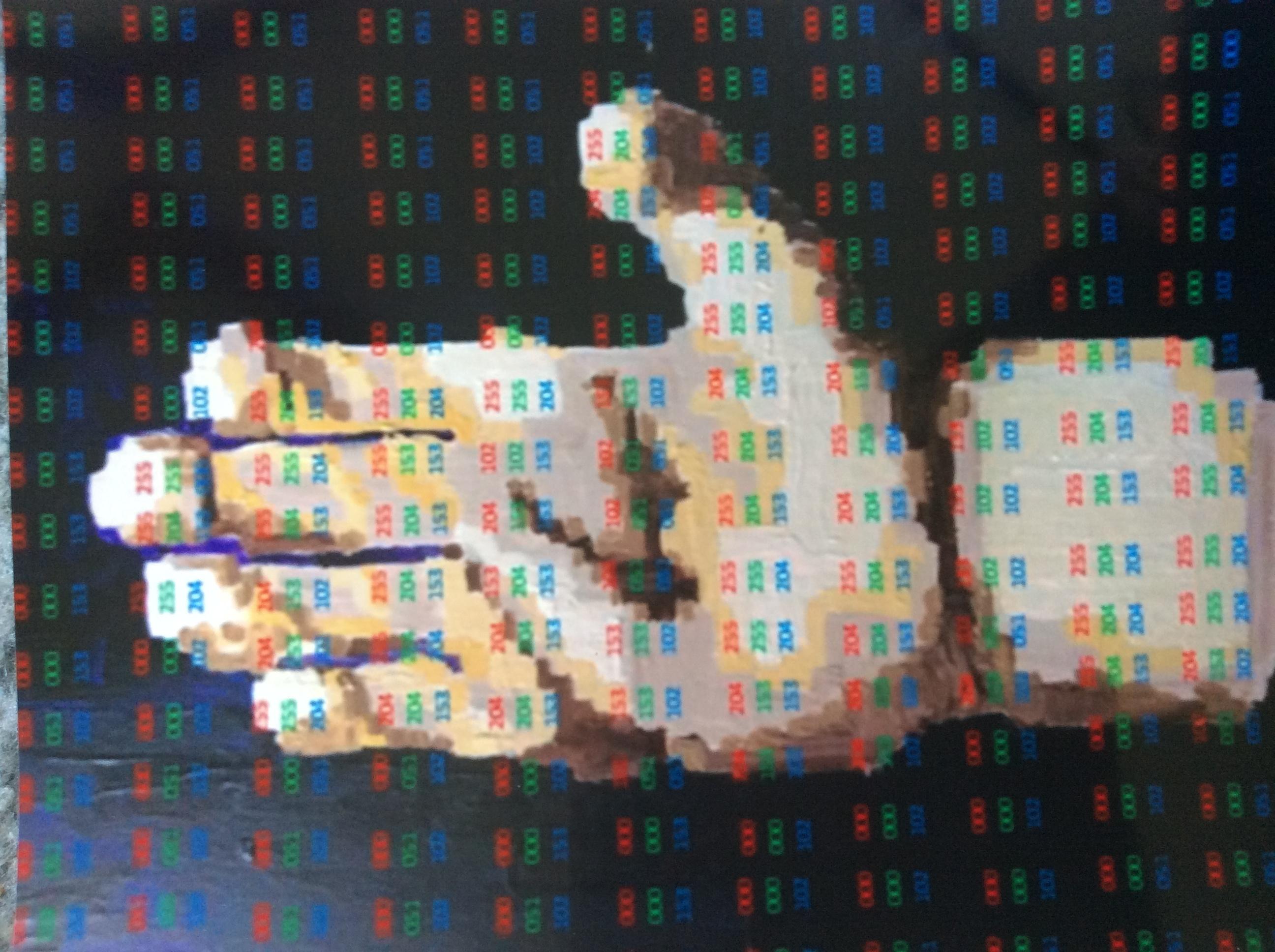 "Digital representation of ""digit"" with RGB codes"