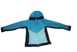 Navy/turquoise/seafoam zip-up fleece hoodie
