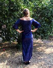 Dark Blue Crushed Velvet Dress