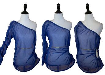 blue mesh one sleeve shirt