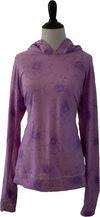 pink and purple flower hooded long sleev