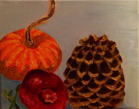 Pumpkin, pomegranate, pinecone