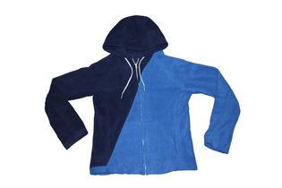 Navy/royal blue diagonal zip-up fleece hoodie