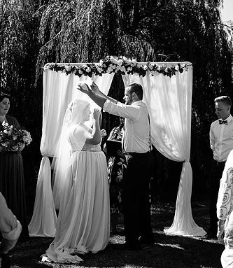 white curtain wedding ceremony