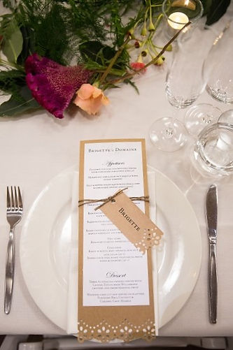 craft paper wedding menu