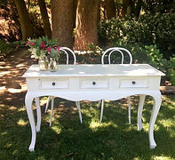 white vintage signing table