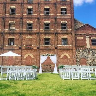 White Curtain wedding ceremony