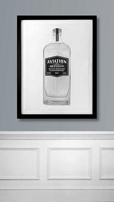 Hyperrealism drawing of Aviation Gin liquor bottle by Northern Virginia artist Brie Hayden