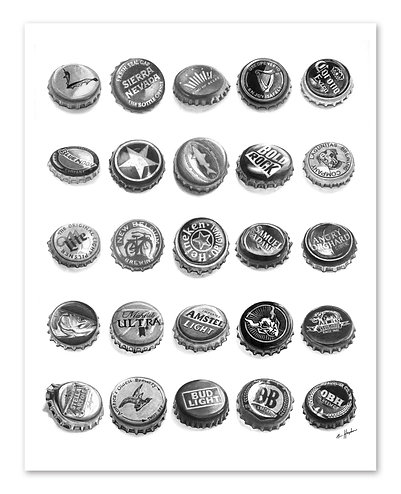 25 Bottle Caps Print