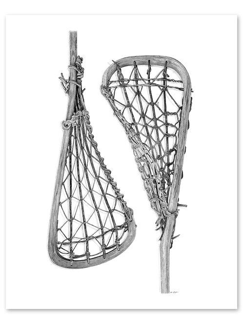 Wooden Lacrosse Sticks Print