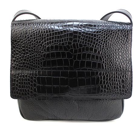 Medium Satchel Black Croc