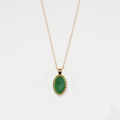 Oval Marbled Emerald Pendant Necklace