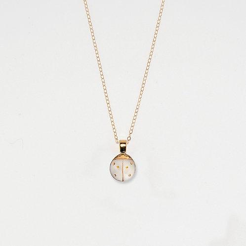 White & Gold Ladybug Pendant Necklace