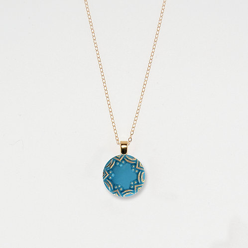 Turquoise and Gold Star Pendant Necklace