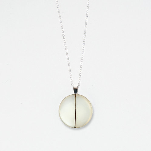 Large Silver Divide Pendant Necklace