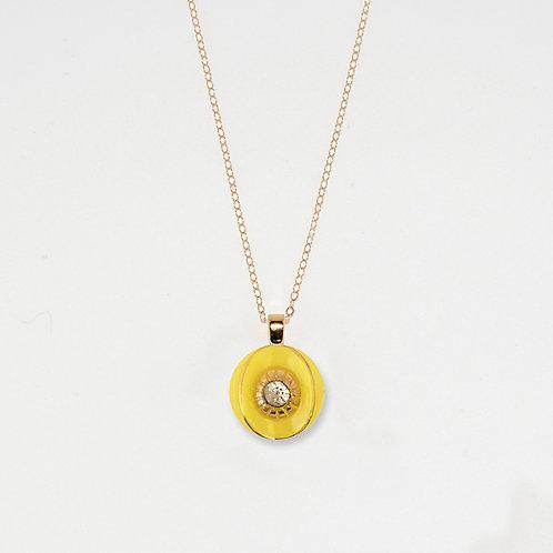 Lemon and Rhinestone Pendant Necklace