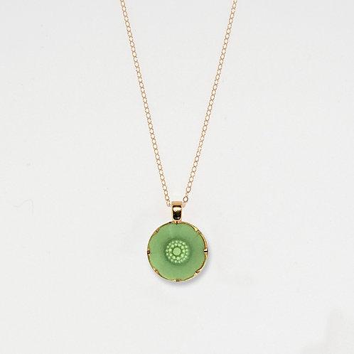 Pastel Green Flower Pendant Necklace