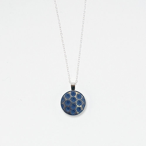 Blue Snowflakes and Silver Luster Pendant Necklace