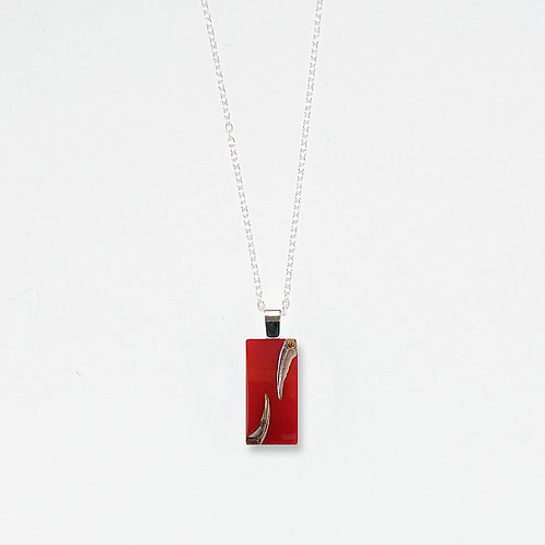 Scarlet Rectangle and Silver Luster Slashes Pendant Necklace