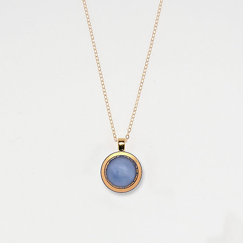 Periwinkle and Gold Band Pendant Necklace