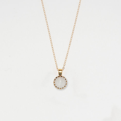 White and Gold Marbled Dome Pendant Necklace