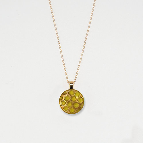 Sunny Flakes and Gold Luster Pendant Necklace
