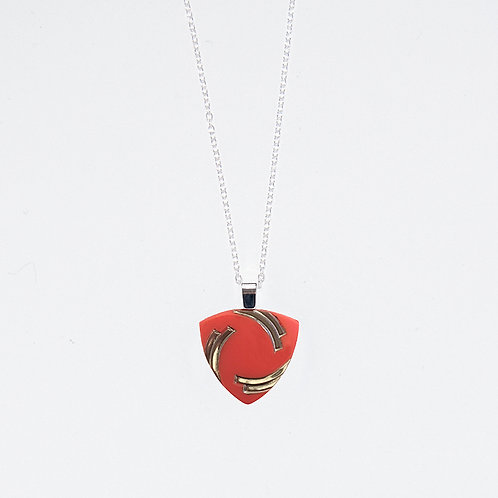 Coral with Silver Arcs Pendant Necklace