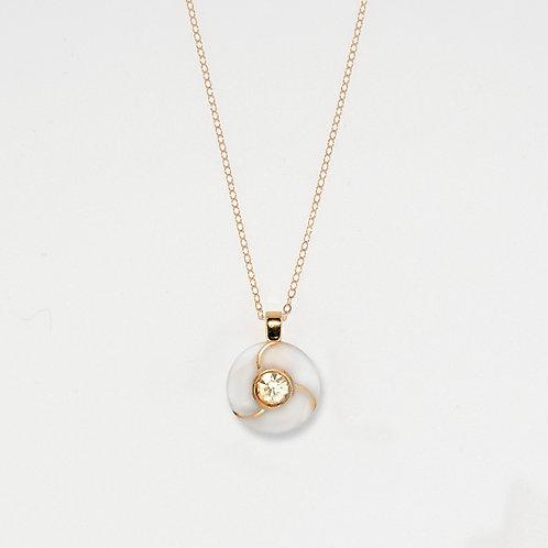 Pearlized White Rhinstone Pendant Necklace