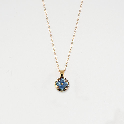 Periwinkle and Gold Flower Pendant Necklace
