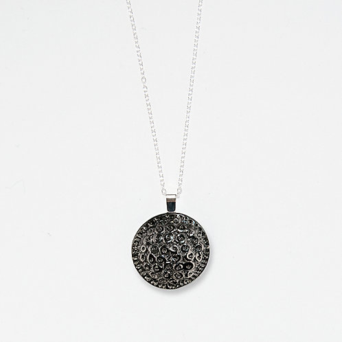 Silver Crater Pendant Necklace