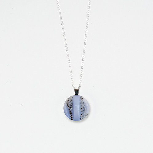 Sky and Silver Filigree Luster Pendant Necklace