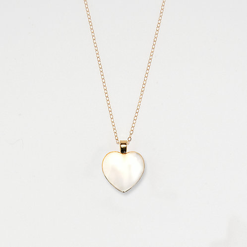 White and Gold Heart Pendant Necklace