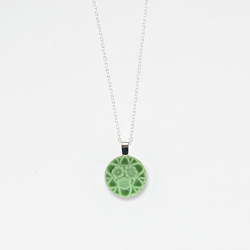 Pastel Green Lace Pendant Necklace