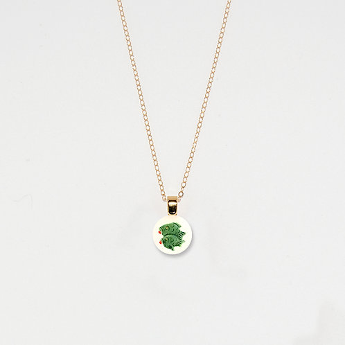 Two Green Fish Pendant Necklace