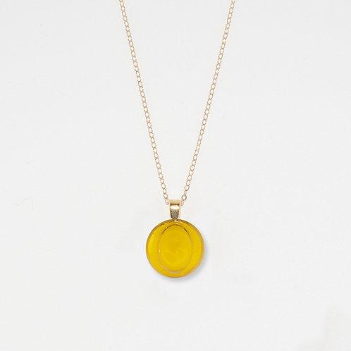 Lemon Yellow Sphere Pendant Necklace