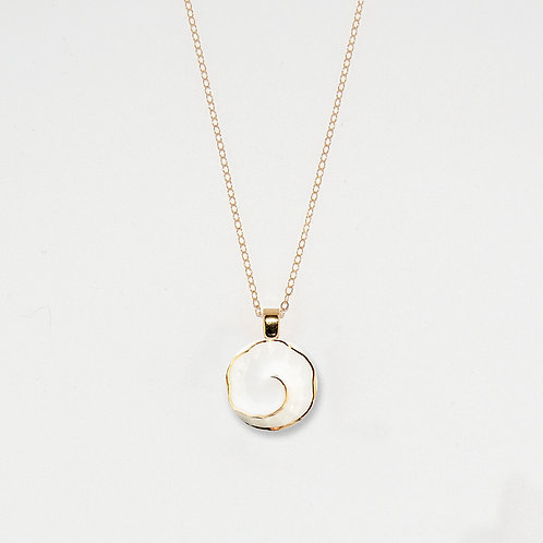 White and Gold Spiral Pendant Necklace