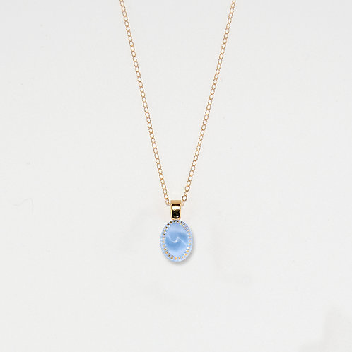 Periwinkle Oval Pendant Necklace