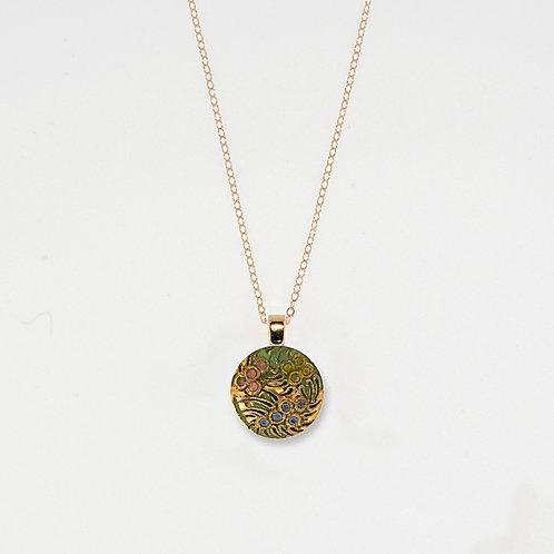 Rainbow Tri-Flowers Pendant Necklace