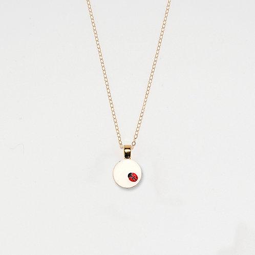 White & Red Ladybug Pendant Necklace