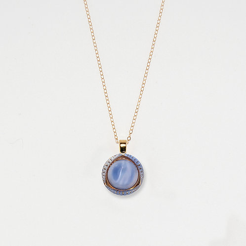 Marblized Sky and Gold Pendant Necklace