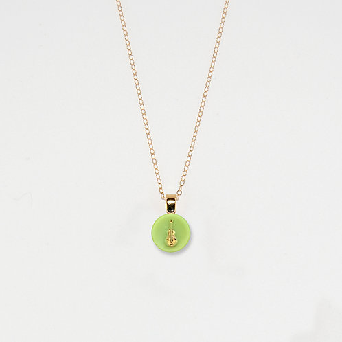 Green & Gold Guitar Pendant Necklace