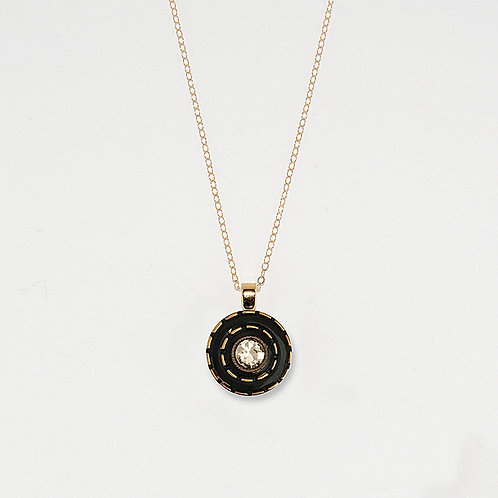 Black with Gold Luster Dashes and Rhinestone Center Pendant Necklace