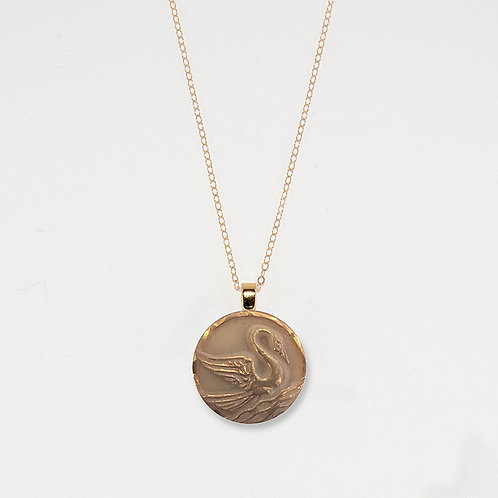 Gold Luster Swan Pendant Necklace