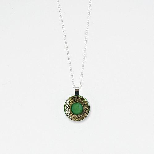 Emerald & Silver Scales Pendant Necklace