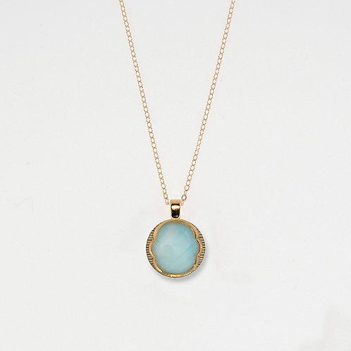 Sky Blue & Gold Crest Pendant Necklace