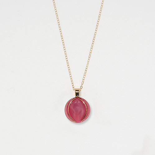 Pink Sphere Pendant Necklace