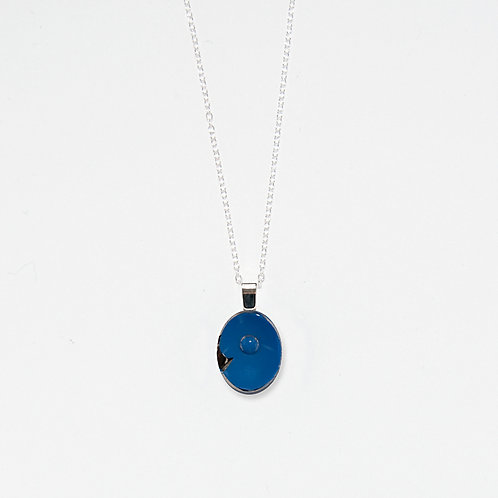 Blue Oval Pendant Necklace
