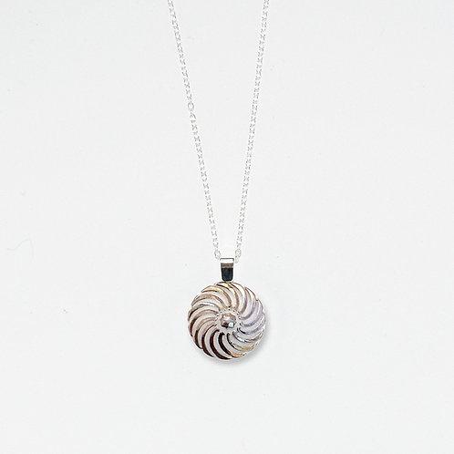 Silver Luster Pinwheel Pendant Necklace